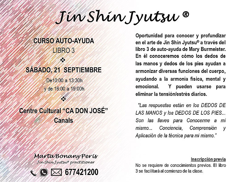 Curso de auto-ayuda de Jin Shin Jyutsu, 21 de Septiembre 2019. Libro 3 por Marta Bonany Peris